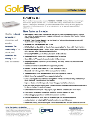 GoldFax 8.0 Release
